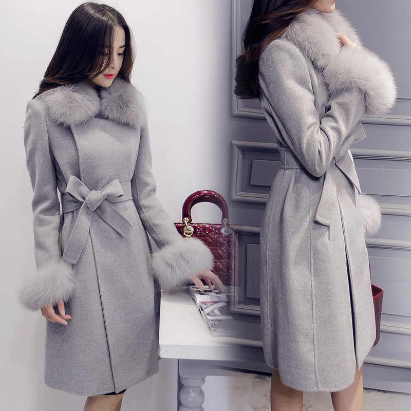 Женское теплое шерстяное пальто Новинка 2019 осень зима новые Свободные пиджаки с