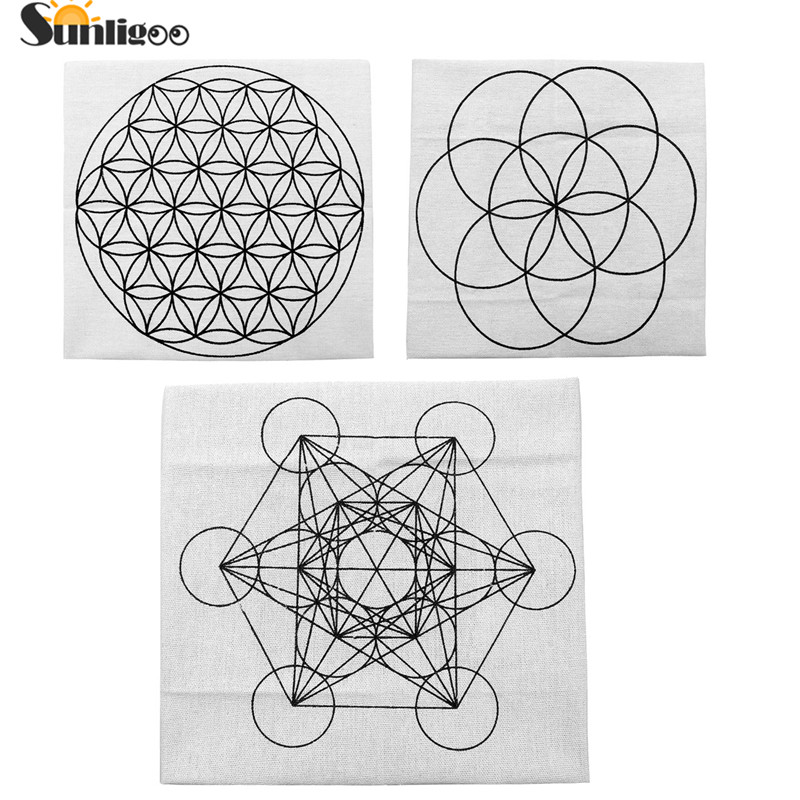 Sunligoo 1x Mini Printed Flower of Life/Metatron's Cube/Seed of Life Sacred Geometry Crystal Grids Altar Cloth for Chakra Stones