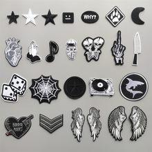 Preto e Branco Listras Pentagrama Bordado Patches para Jacket Ferro em Transferência Apliques Roupas Roupas Adesivos Emblemas Asa