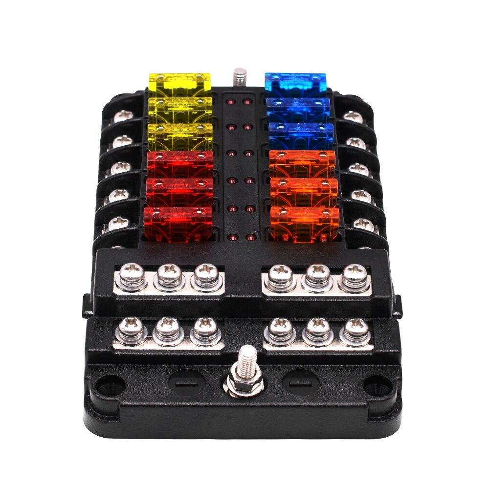 Support universel de bloc de fusible de Circuit automobile de boîte de fusible de lame de voiture DC32V 1-12 manières avec le indicateurs LED