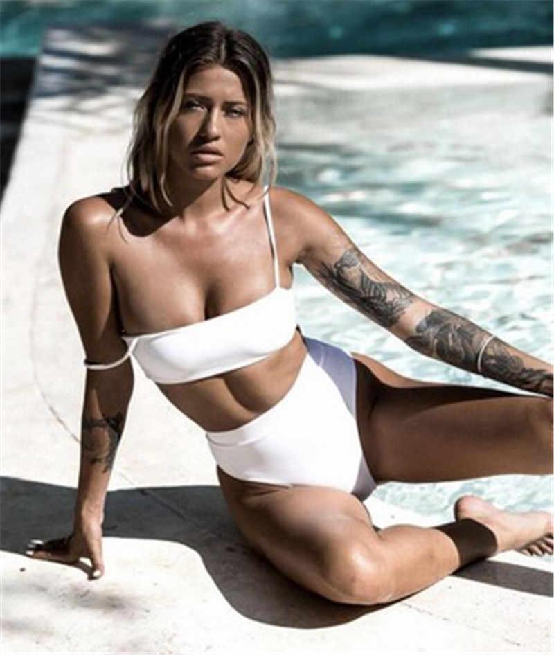 2020 Seksi Wanita Bikini Set Perban Jahitan Push-Up Pakaian Renang Empuk Tinggi Pinggang Perempuan Swimsuit Mandi Pantai Biquini untuk gadis