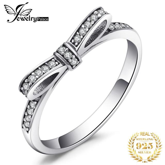 JewelryPalace Bowknot Cubic Zirconia Ring 925 Sterling Silver Rings for Women Stackable Ring Silver 925 Jewelry Fine Jewelry