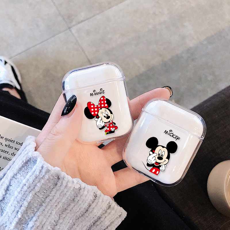New Transparent Wireless Earphone Charging Cover Bag For AirPods 1 2 Hard PC Cute Cartoon Pattern Bluetooth Box Headset Case