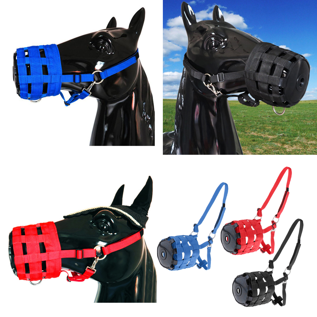 Easy Breathe Grazing Muzzle Horse Pony Nylon Grass Grazing Muzzle With Halter Adjustable Comfortable