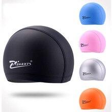 цена на Swimming Caps Men and women PU water hat Waterproof Swimming hats Adult swim cap