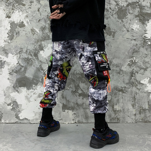 Image 4 - 11 BYBBS DARK Hip Hop Big Pocckets Graffiti Men Harem Cargo Pants 2019 Harajuku Sweatpants Joggers Trouser Streetwear Oversized