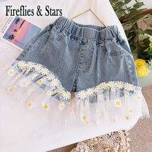 Jeans Kids Embroidery Hot-Shorts Streetwear Girls Baby Summer Children Mesh Floral Bottom