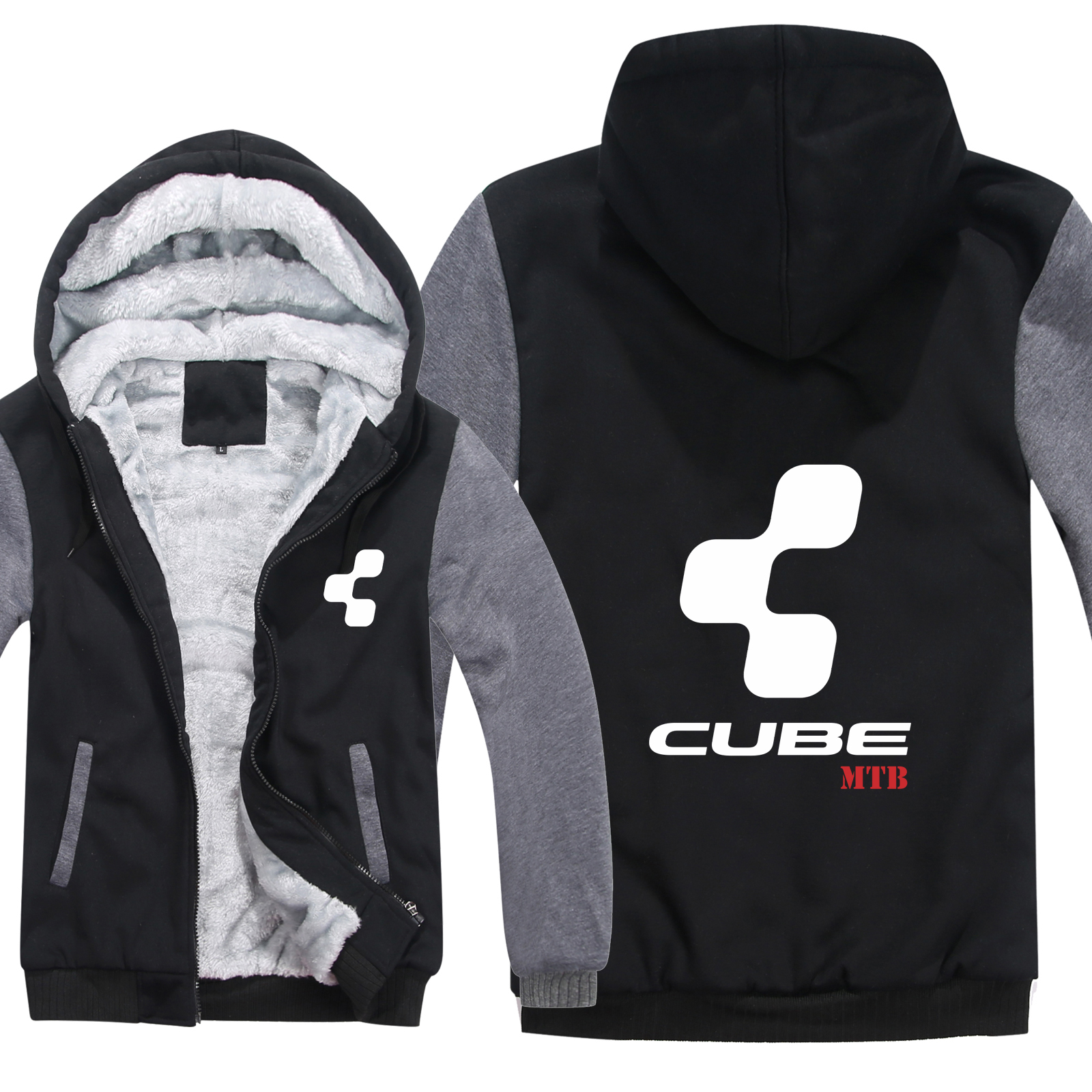 Cube Mtb Hoodies Winter Men Wool Liner Jacket Thicken Cube Mtb Sweatshirts Man Pullover HS-114