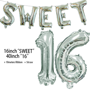 Image 4 - Sweet 16 Party Decorations Supplies Sixteen Birthday Decorations 16 Years Birthday Number Foil Balloons