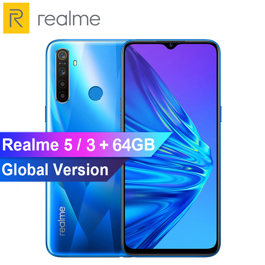 Global Version Realme 5 R5 6.5 Inch Moblie Phone Snapdragon 665 AIE 3GB 64GB Octa Core 12MP AI Quad Cameras 5000mAh Smartphone