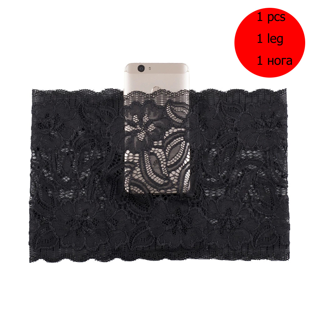 1pcs Women Anti chafing lace Thigh bands with phone pocket summer Silicon Non-Slip Phone Card Pouch Thigh Band