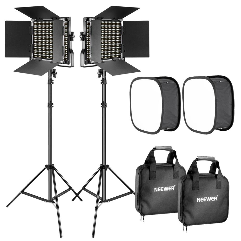 Neewer 2-Pack Dimmable Bi-color 660 LED Video Light with Barndoor and Light Stand 4-Pack Rechargeable 6600mAh Li-ion Battery and Charger Lighting Kit for Studio YouTube Video Shooting