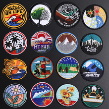 Fine Round Oil painting Chrysanthemum Camping Bear Embroidered Appliques Iron On Mount Fuji Japan Patches Diy night view Badges