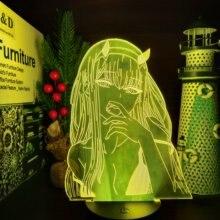 Zero dois 002 darling no franxx 3d anime lâmpada led ilusão nightlights iluminação lampara para para o presente de natal