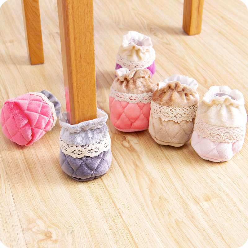 4 Pcs Cute Cloth Lace Edge Table Feet Cover Wear-resistant Non-slip Chair Feet Socks Cover Furniture Legs Protector Home Decor