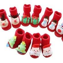 Buy Newborn Baby Boys Girls Christmas Floor Socks Anti-Slip Baby Step Socks calcetines bebe L0924 directly from merchant!