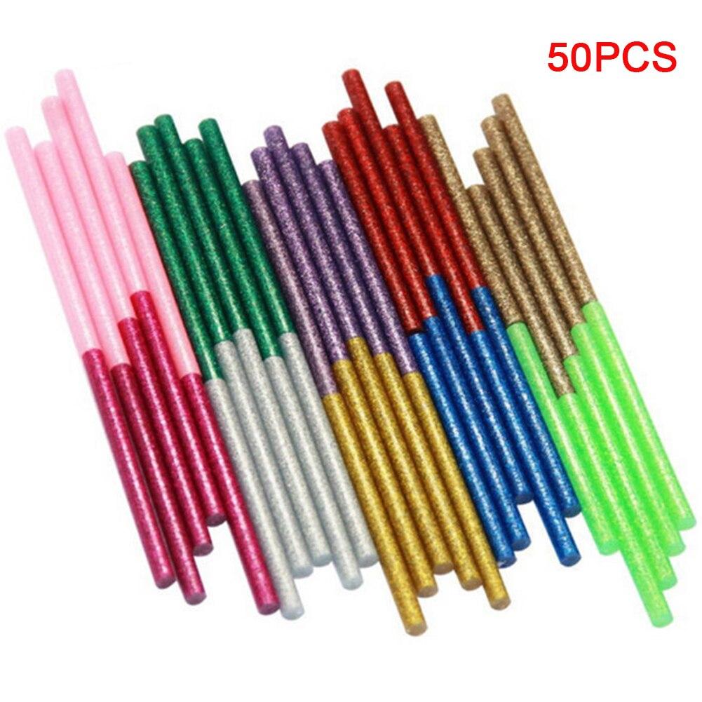50 шт. клеевые палочки, клейкие мини-палочки для офиса, термоплавкий художественный практичный клей с блестками, палочки для нагрева электро...
