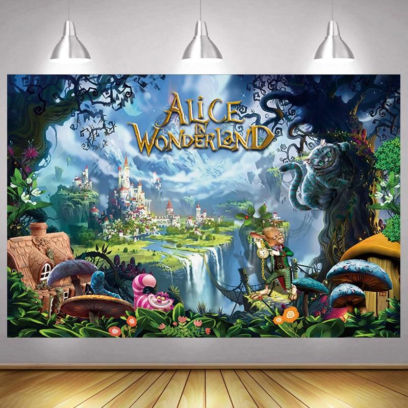 Alice in wonder Photo Backdrop Garden Girls Kids Happy Birthday Party Decoration Cartoon Photography Backgrounds Banner Prop