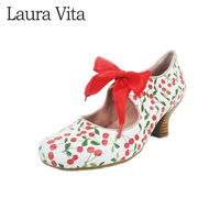 Laura Vita CANDICE 1081 Ribbon Ankle Strap Wine Glass Shape Middle Heel Snakeskin Sweet Print Genuine Leather Women Shoes