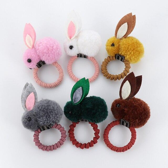 Cute animal hair ball rabbit hair ring rubber elastic bands Korean children hair Accessories 2