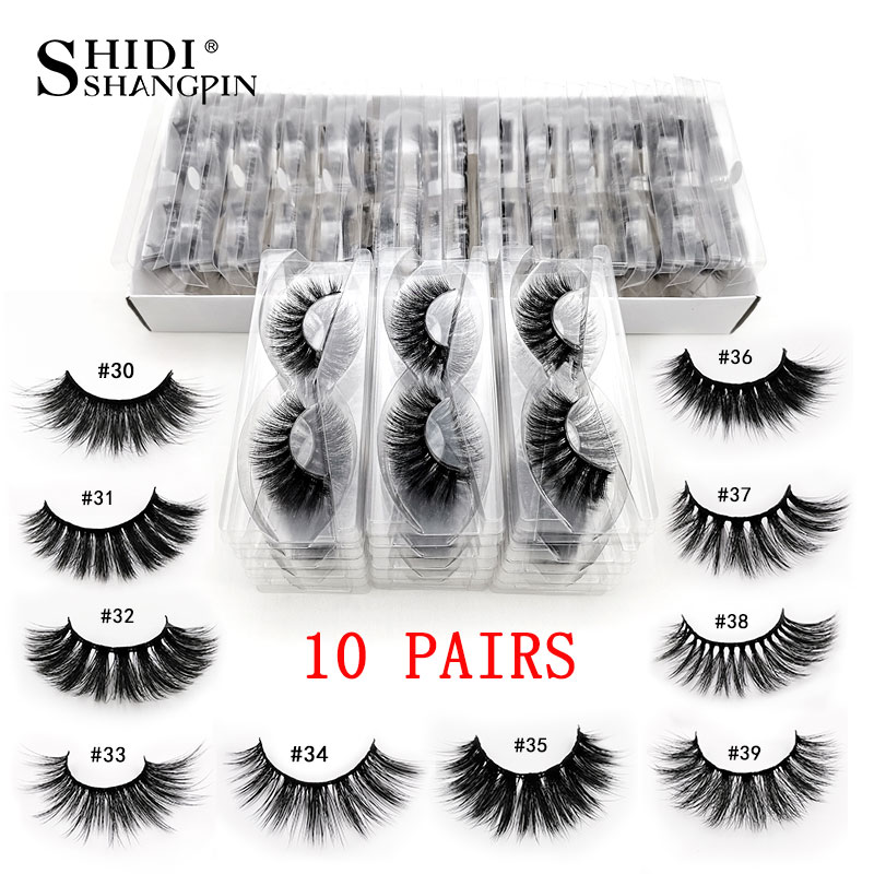 Wholesale10 Lots 3d Mink Lashes False Eyelashes 10 Pairs Fluffy Wispy Fake Lashes Natural Soft Make Ups Lashes Extension In Bulk