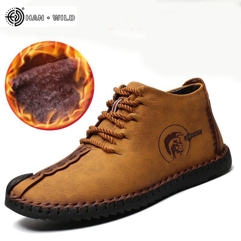 2019 Fashion Men Boots Leather Vintage Shoes Mens Huarache Moccasins Non-slip Super Hot Flats Black Plus Sizes 48