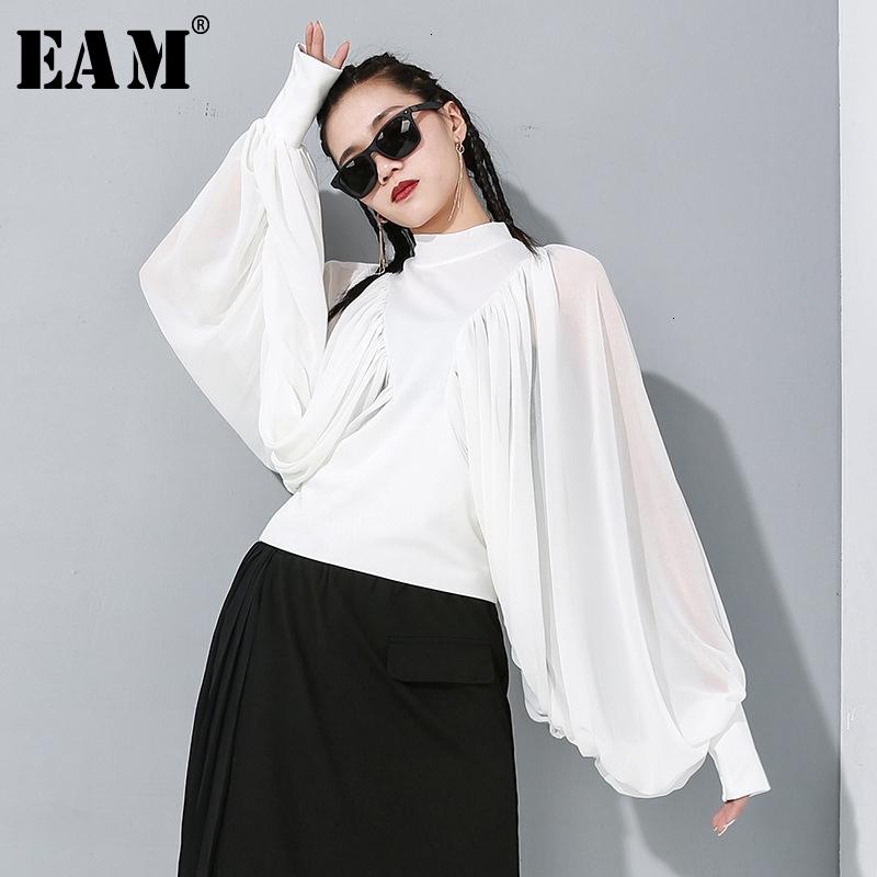 [EAM] Women Pleated Chiffon Big Size Blouse New Stand Collar Long Sleeve Lantern Loose Fit Shirt Fashion Spring Autumn 2020 1M89