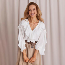 Women Blouses Sexy Office Shirt Clothing Ruffle Bell Sleeve Ladies
