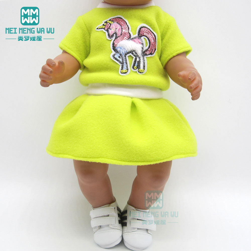 Clothes For Doll Fit 43cm Baby Toy New Born Doll And 45cm American Doll Unicorn Sports Suit Pink, Rose, Green