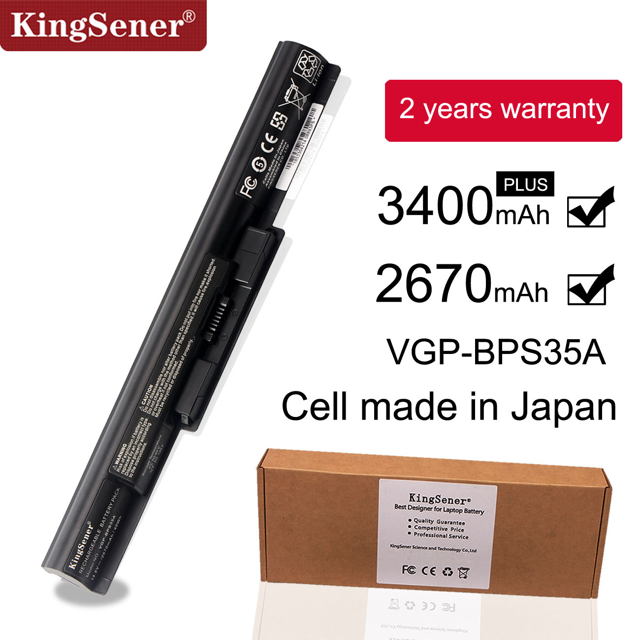 KingSener Japanese Cell VGP-BPS35A Battery For SONY Vaio Fit 14E 15E SVF1521A2E SVF15217SC SVF14215SC SVF15218SC BPS35 BPS35A