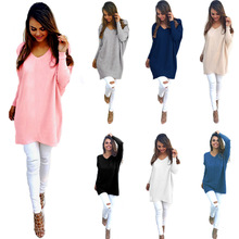 Spring and autumn winter wear European American fashion V-neck long-sleeved womens sweater