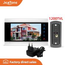 Jeatone wideodomofon wideodomofon wideo telefon drzwi 7 cal Monitor 1200TVL dzwonek do drzwi kamera 32G karty pamięci wideodomofon zestaw z interkomem tanie tanio Przewodowy Głośnomówiący CMOS color Acrylic Wire Drawing Panel 7 Inch Video Intercom System External power DC12V AC 220V