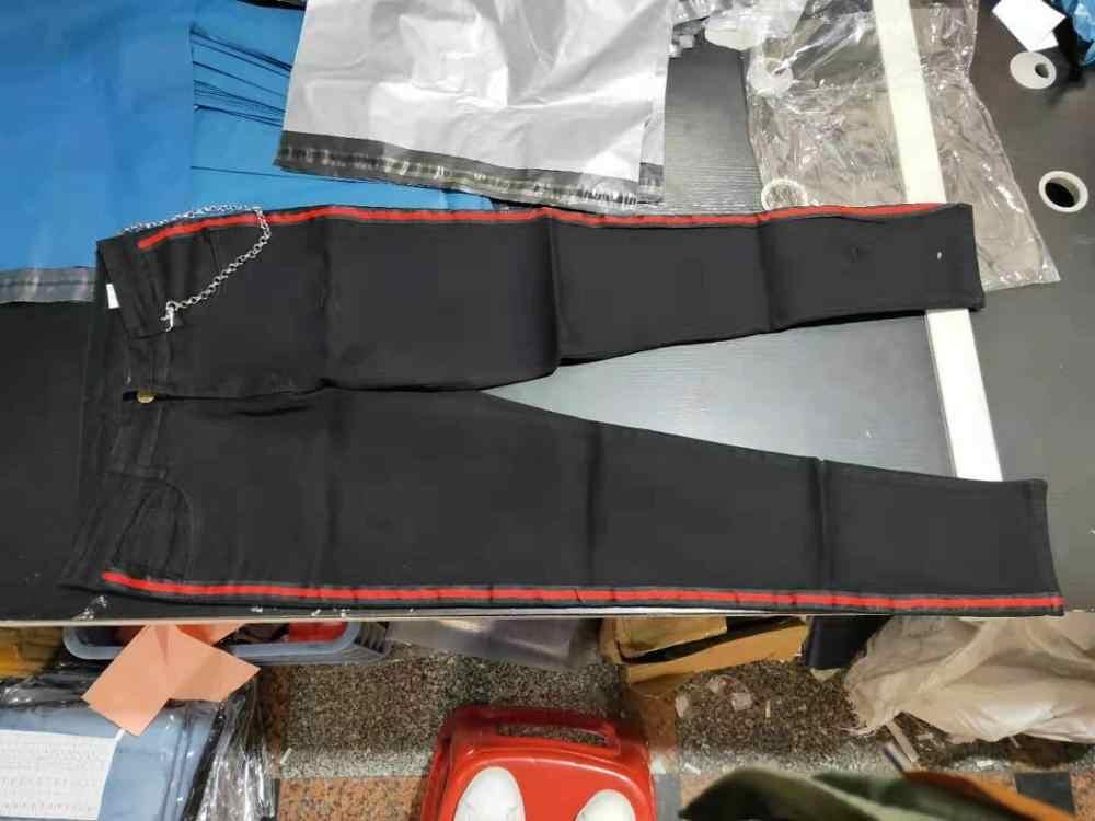 New スキニージーンズ男性ストリート破壊ジーンズをリッピングオムヒップホップ壊れ modis 男性鉛筆バイカー刺繍パッチパンツ