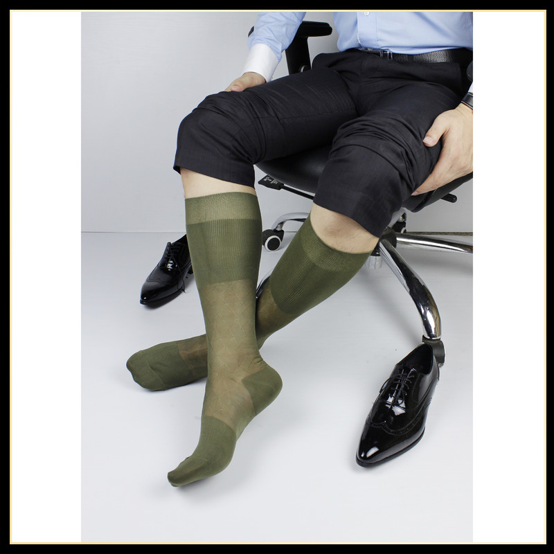 Tube Socks Men's Stocking Business Dress Stocks Hot Formal Wear Sheer Socks Exotic Socks For Suit Men Sexy Green TNT Socks