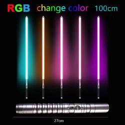 100cm Cosplay Toy RGB 11 Color Lightsaber Light Stick Saber Metal Sword Discoloration Laser Luminous Outdoor Creative Wars Toys