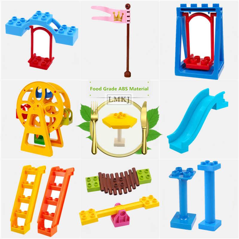 DIY bloques de construcción de gran tamaño accesorios juguetes para niños noria deslizante puente oscilante escaleras piezas ladrillos bebé regalo