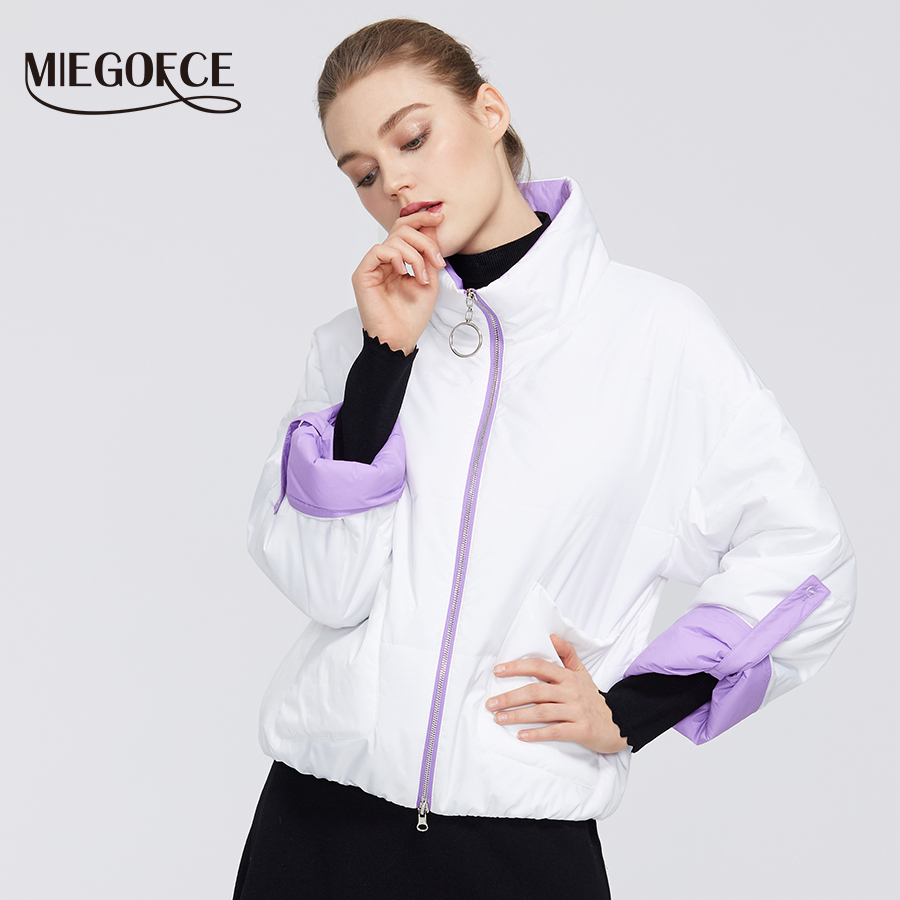 MIEGOFCE 2020 New Designer Spring Women Coat Collection Short Length Collar Design Jacket Coat Design Sleeves That Goes In 3/4
