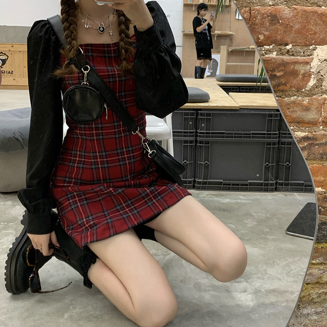 Preppy style Gothic Womens Girls Vintage Plaid Dress Patchwork Puff Sleeve Sexy Party Female Mini Short Dresses 1