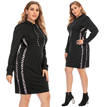 6XL Plus Size Black Hooded Woman Dress Oversized Bodycon Autumn Long Sleeve Dresses for Women Leopard Large Clothing D30