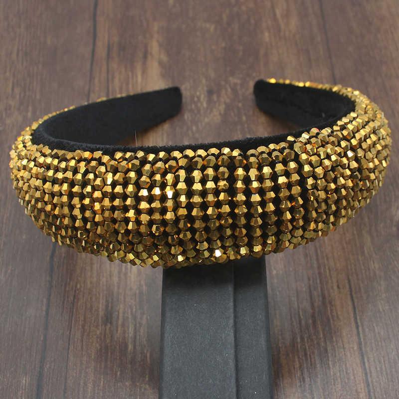 Luxus Barock Strass Padded Stirnband Für Frauen Shiny voll AB Kristall Breite Dicke Haar Hoop Kopf Lünette Wrap Haar Zubehör