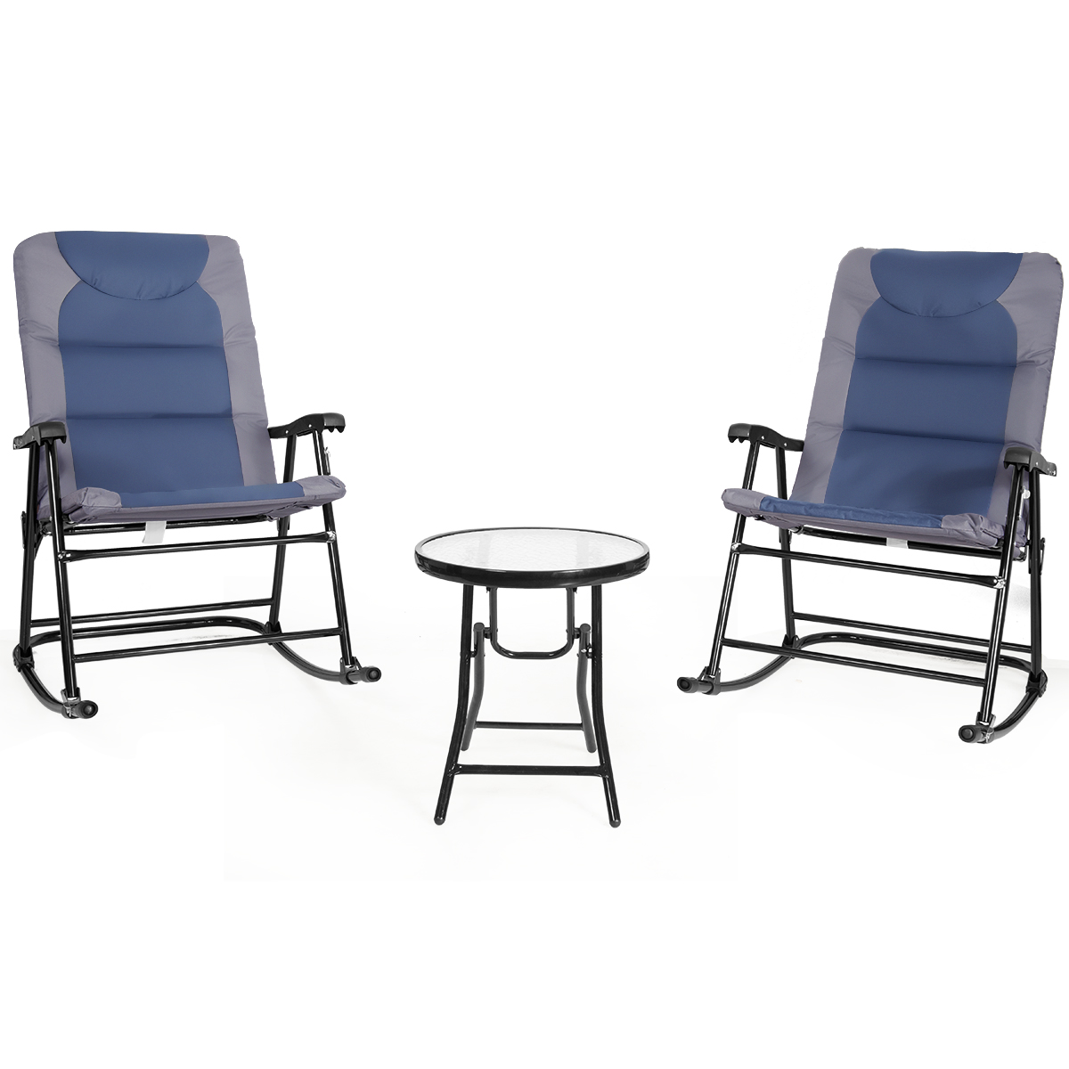 Costway 3PCS Folding Bistro Set Rocking Chair Cushioned Table Garden Blue