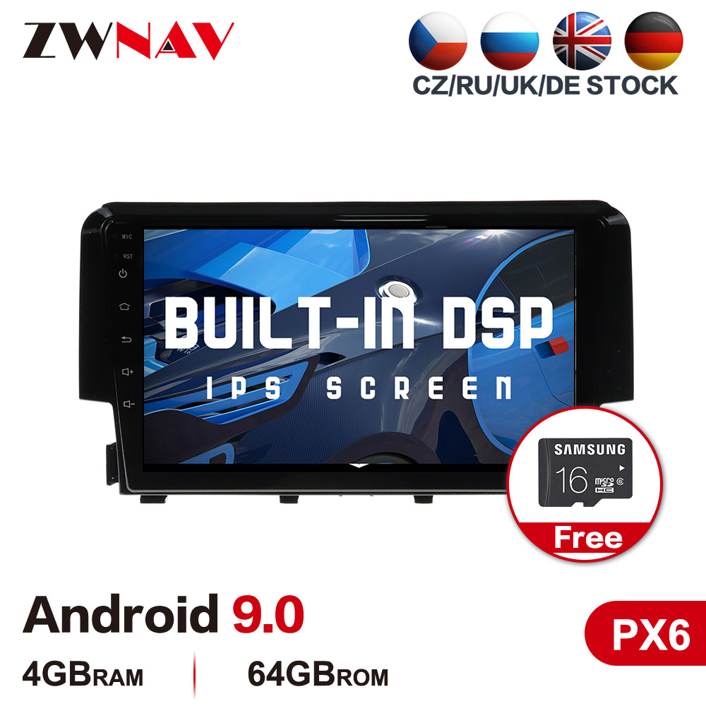 PX6 4G+64G Android 9.0 Car Multimedia Player For Honda Civic 2016-2018 Car Radio Stereo GPS Navi Head Unit Touch Screen Free Map