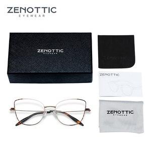 Image 5 - Zenottic cat eye óculos frame para mulher simples prescrição de metal armação de resina clara lente miopia óptica eyewear 2020