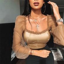 Hirigin Hot Sexy Women Tops Mesh Sheer Sleeve Blouses Fashion Ladies sh