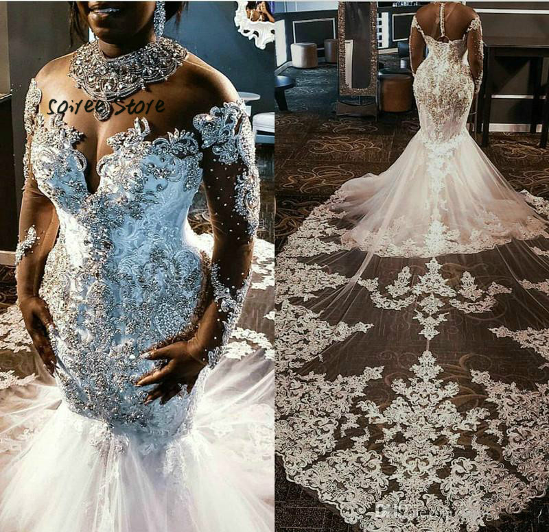 Bling Crystal Country Wedding Dress Mermaid African Nigerian Wedding Gowns Long Sleeve Lace Royal Train Big Size Vestaglia Sposa