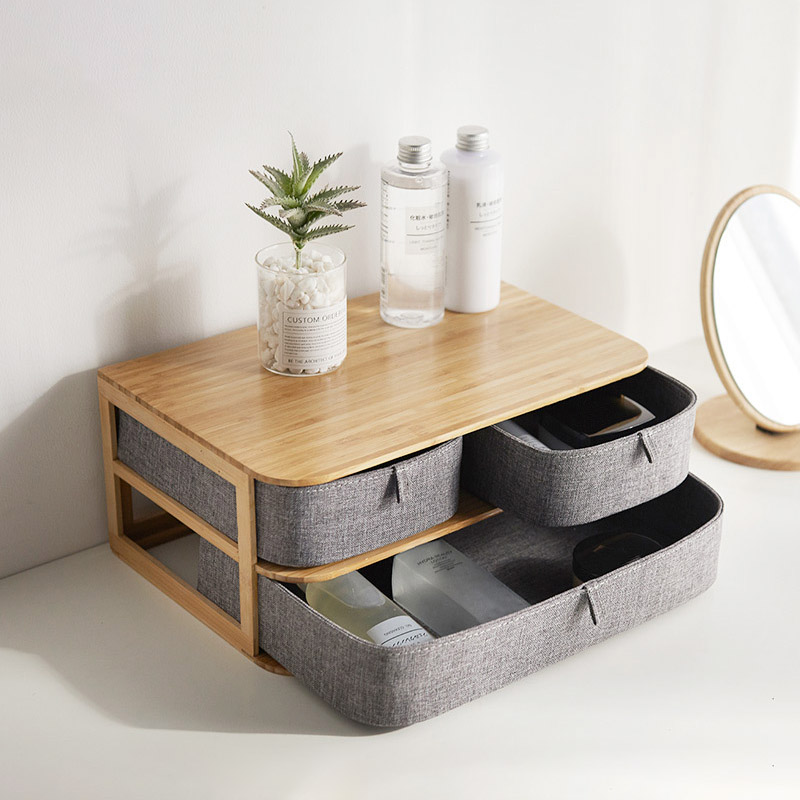 Boîte de rangement en bois de bambou nouvellement multi-couches avec tiroirs en tissu Oxford pour bureau MK - 3