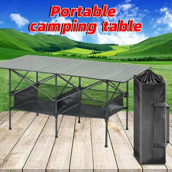 Składany stół piknikowy na zewnątrz stół kempingowy przenośny stół piknikowy stół ogrodowy stół z plecakiem stół plażowy stół piknikowy tanie i dobre opinie NoEnName_Null CN (pochodzenie) Outdoor multifunctional folding table L153cmW80cmH70cm L23cmW18cmH83cm 8 2kg Aluminum alloy
