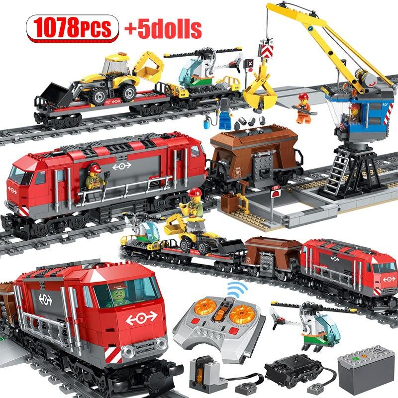 1078PCS City Urban Heavy Train RC Train Building Blocks Legoing Remote Control Train Track Car Figures Bricks Toys For Children