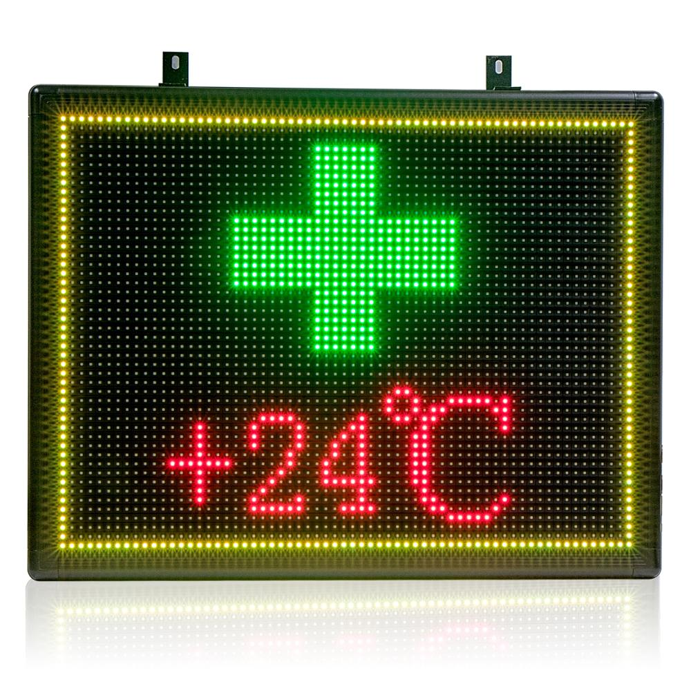 71x55cm P10 RGB LED Pharmacy Open Sign Outdoor Waterproof Cross Advertising Display Board For Medicine Drugstore Chemist Clinic