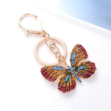 Fashion Ornament Beautiful Butterfly Keychain Glitter Rhinestone Key Ring for Women Girl Bag Accessories Alloy Craft Car Pendant(China)